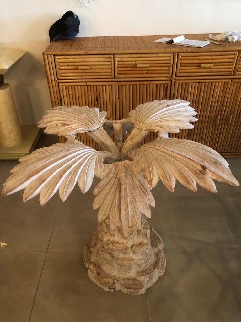 Vintage Palm Tree Leaf Frond Italian Wood Carved Dining