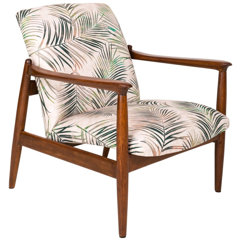 Vintage Palm Tree Leaves Beige Velvet Armchair Edmund Homa 1960s