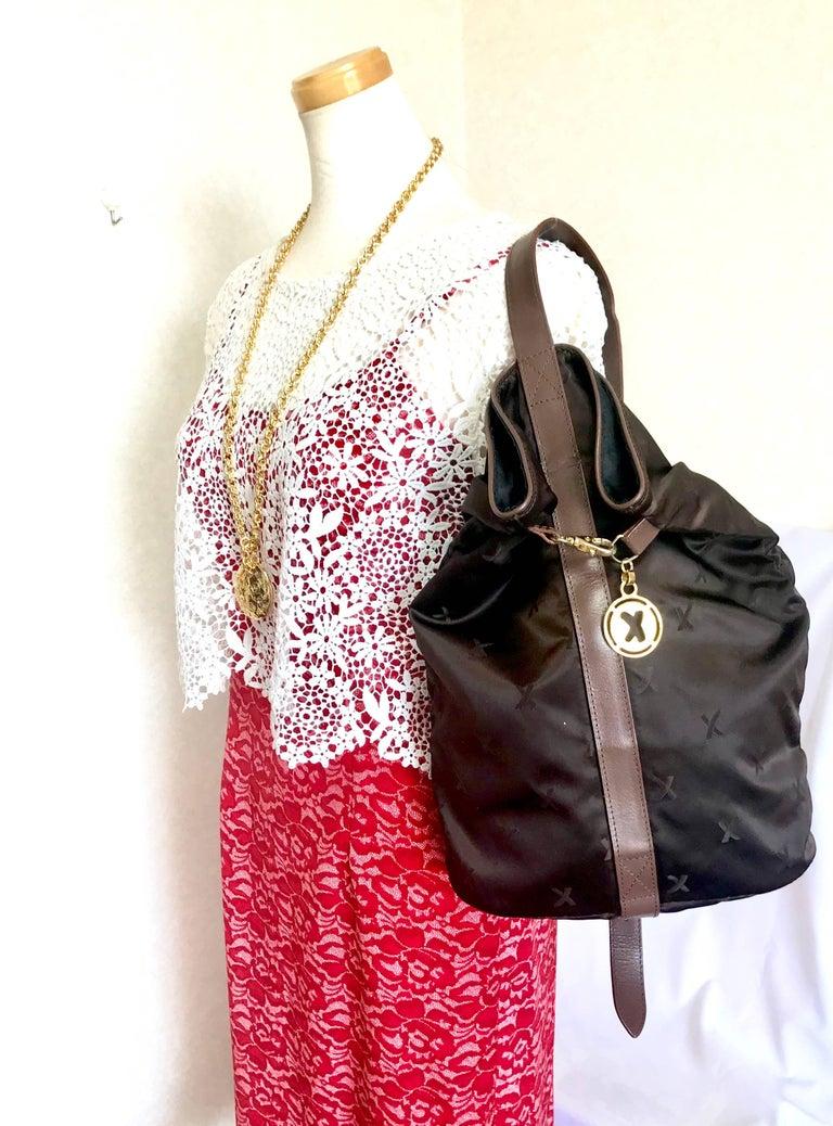 Paloma Picasso Vintage Paloma Picasso Brown Satin Logo Jacquard Hobo Style Shoulder Bag ocFQzbnsS