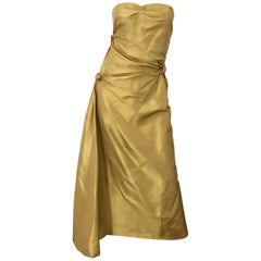 Vintage Pamela Dennis Couture Size 8 Gold Silk Taffeta Beaded Strapless 90s Gown