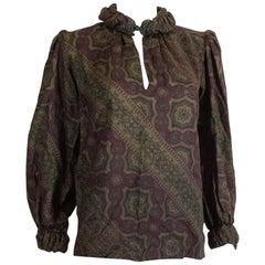 Vintage Pancaldi  Paisley Print Silk and Wool Top