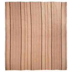 Vintage Paneled Turkish Beige and Brown Wool Kilim