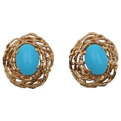 Vintage Panetta Earrings 1960's Faux Turquoise