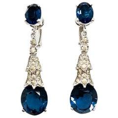 Vintage Panetta Earrings Faux Sapphire & Diamond Drops 1960s