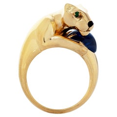 Vintage Panthere De Cartier 4.40 Carat Cabochon Sapphire Ring in 18k Yellow Gold