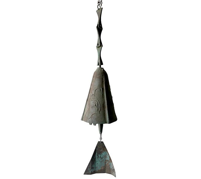 """Paolo Soleri bronze bell measuring 27"""" including clapper. Chain measures 22"""