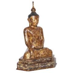 Vintage Papier Mâché Parcel-Gilt Buddha