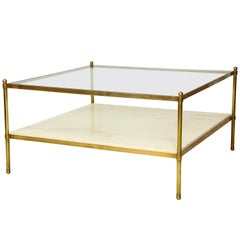 Vintage Parchment and Bronze Coffee Table with Glass Top