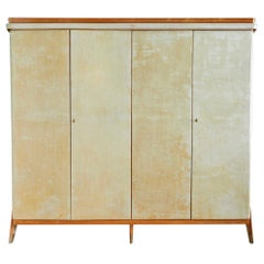 Vintage Parchment Cabinet with Wooden Molding and Brass Shoes, Italian, 1950s