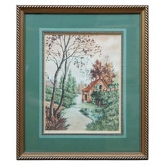 Vintage Paris Etching Society Water Wheel Country Landscape by Pierre SZL Framed