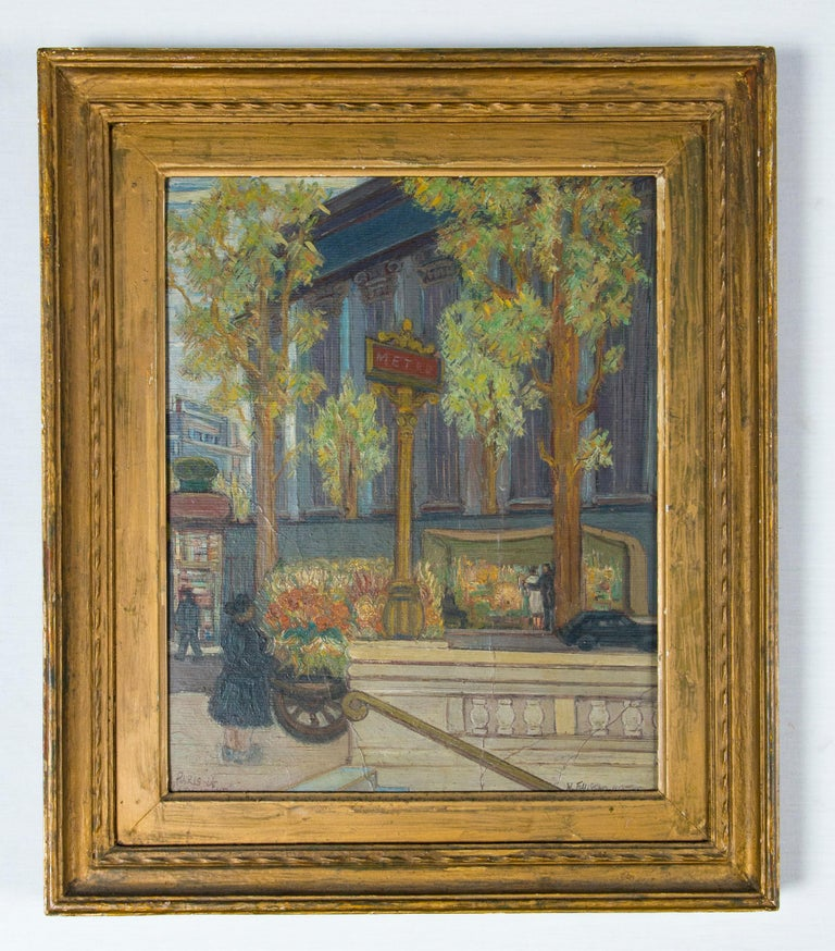 A fine midcentury Paris oil on board painting depicting the grand architecture with Parisians out and about. Signed and titled.