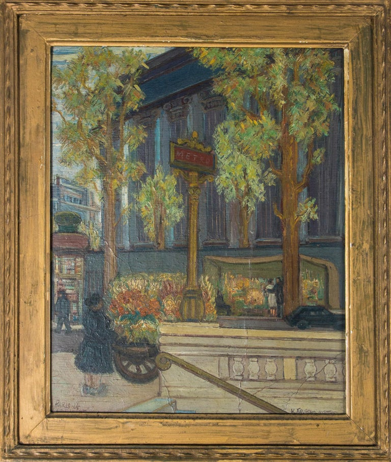 Vintage Paris France Street Scene Painting In Excellent Condition For Sale In Stamford, CT