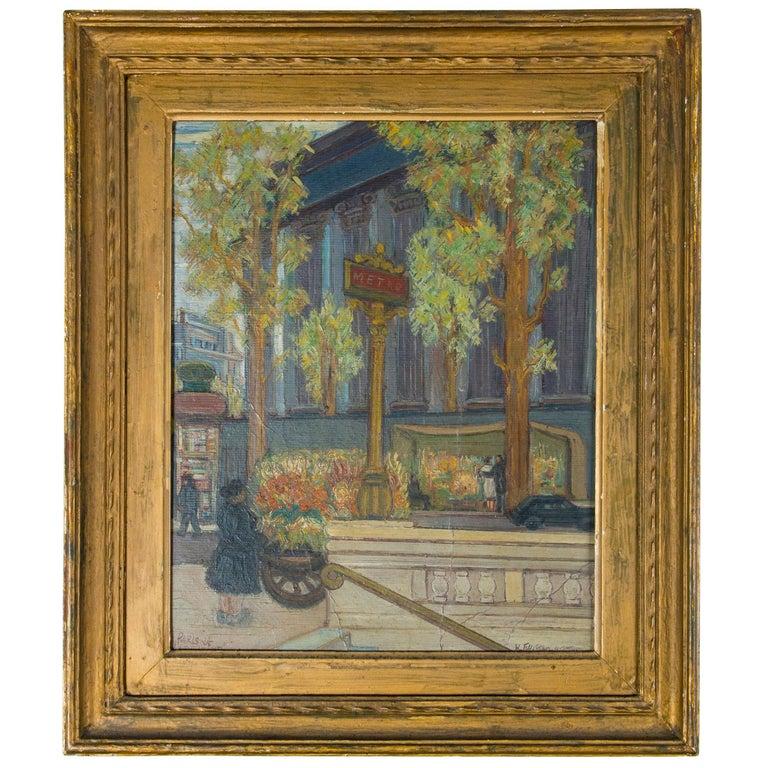 Vintage Paris France Street Scene Painting For Sale