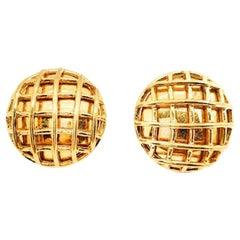 Vintage Parisian Designer Gold Lattice Earrings 1980S