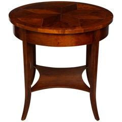 Vintage Parquetry Walnut Center Table with Parquetry Starburst Pattern