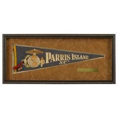 Vintage Parris Island, South Carolina Felt Pennant