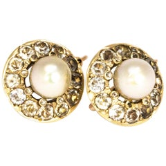 Vintage Paste and Pearl Yellow Gold Earrings