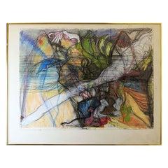"""Vintage Pastel Drawing """"Seas"""" by Janet Biggs"""