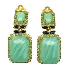 Vintage Pastel Green Faceted Drop Earrings 1980s