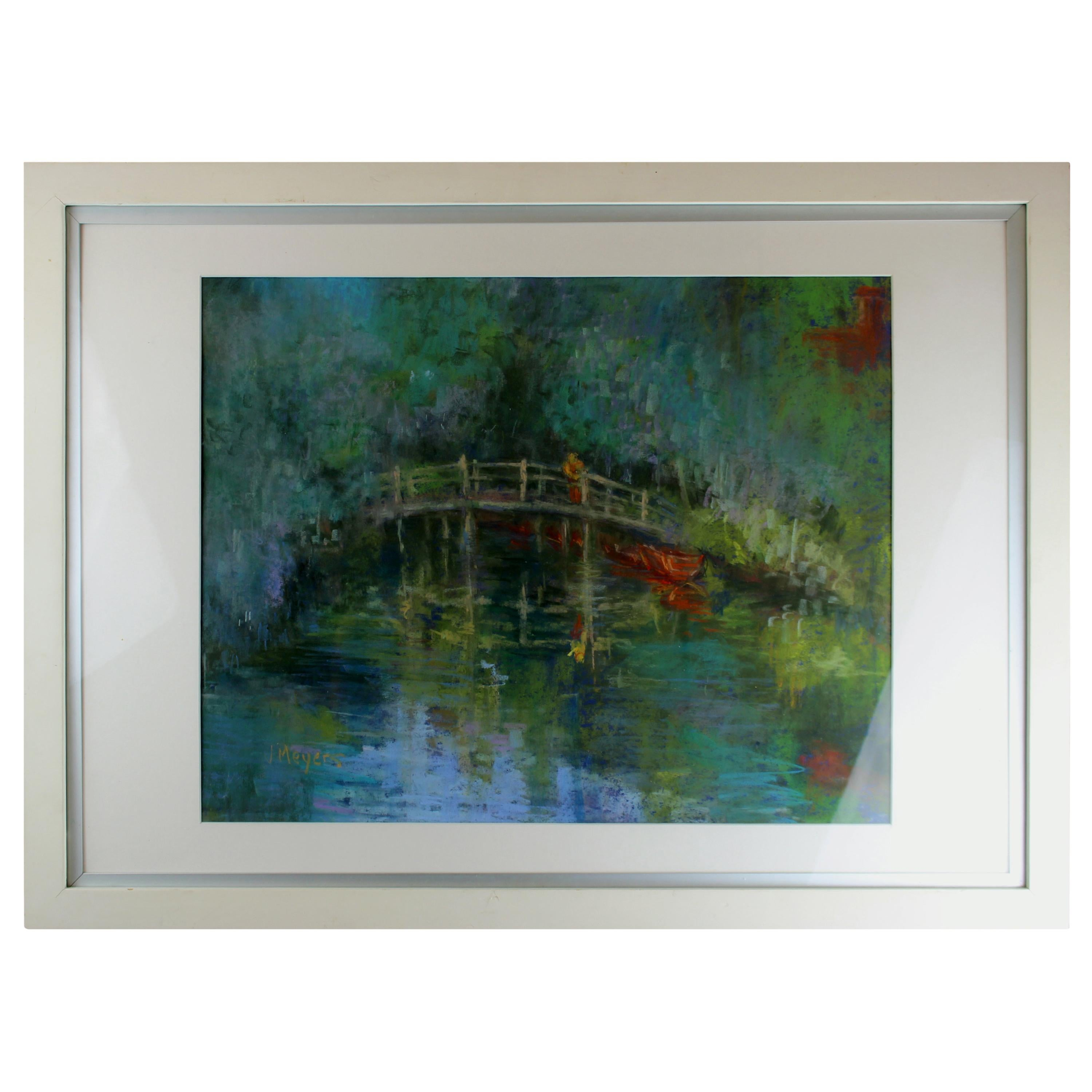 """Vintage Pastel Painting """"Reflections at Flatford Mill"""" by Joyce Meyers"""