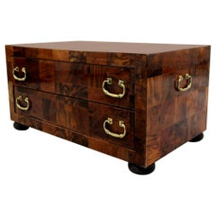 Vintage Patchwork Burl and Brass Two-Drawer Chest Cabinet