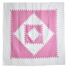Vintage Patchwork Diamond Quilt in Pink and White, USA, 1930s