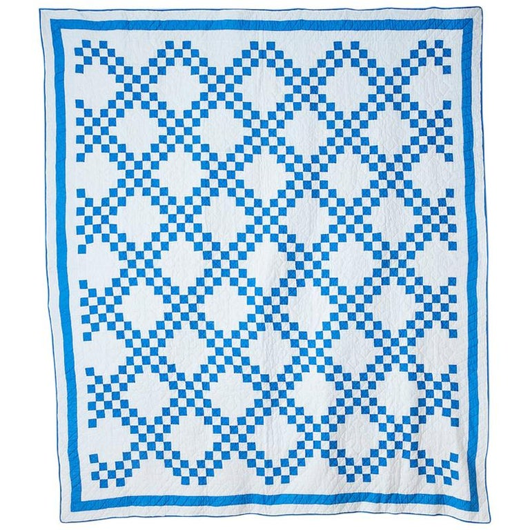 """Vintage Patchwork """"Double Irish Chain"""" Quilt in Blue and White, USA, 1920s For Sale"""