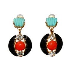 Vintage Pate de Verre and Swarovski Crystal Earrings