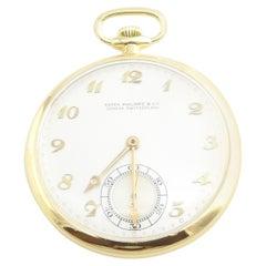 Vintage Patek Philippe 18 Karat Yellow Gold Open Face Pocket Watch