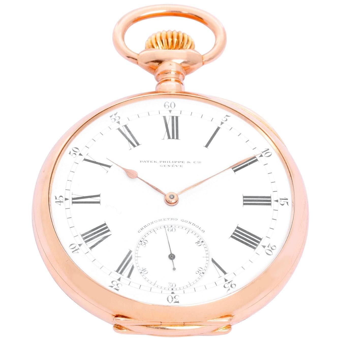 Patek Phillipe Chronometro Gondolo Pocket Watch Porcelain Dial High Quality Goods Costume