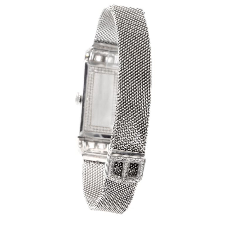 Art Deco Vintage Patek Philippe Tiffany & Co. Diamond Platinum Ladies Mesh Watch For Sale