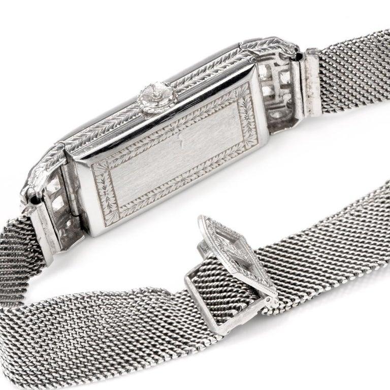 Vintage Patek Philippe Tiffany & Co. Diamond Platinum Ladies Mesh Watch In Good Condition For Sale In Miami, FL