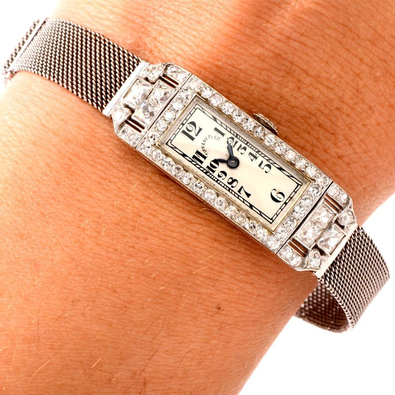 Women's Vintage Patek Philippe Tiffany & Co. Diamond Platinum Ladies Mesh Watch For Sale
