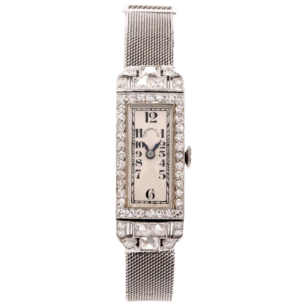Vintage Patek Philippe Tiffany & Co. Diamond Platinum Ladies Mesh Watch