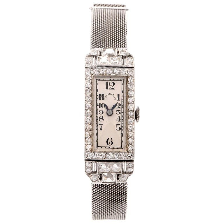 Vintage Patek Philippe Tiffany & Co. Diamond Platinum Ladies Mesh Watch For Sale