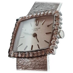Vintage Patek Philippe Watch in Grey Gold with Diamonds