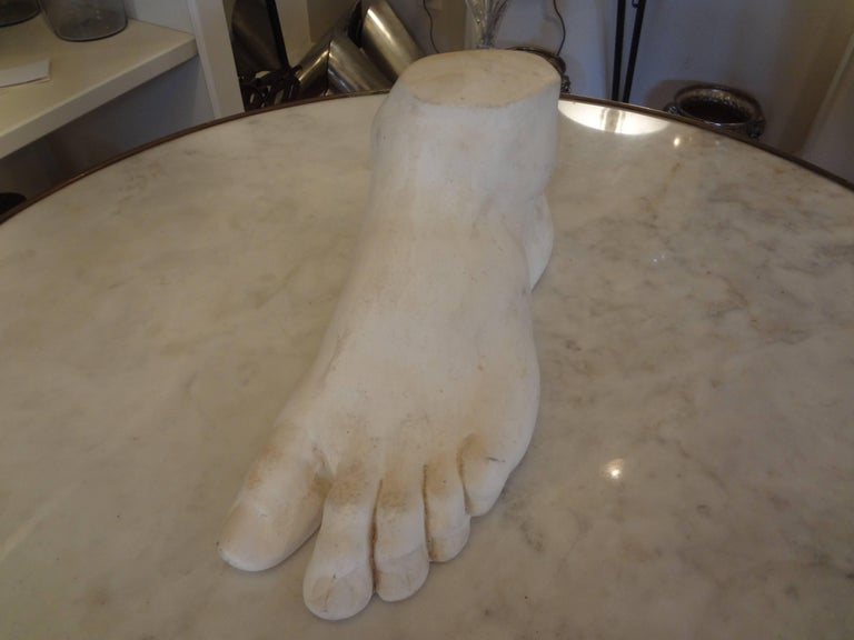 Classical Roman Vintage French Academic Patinated Plaster Foot For Sale