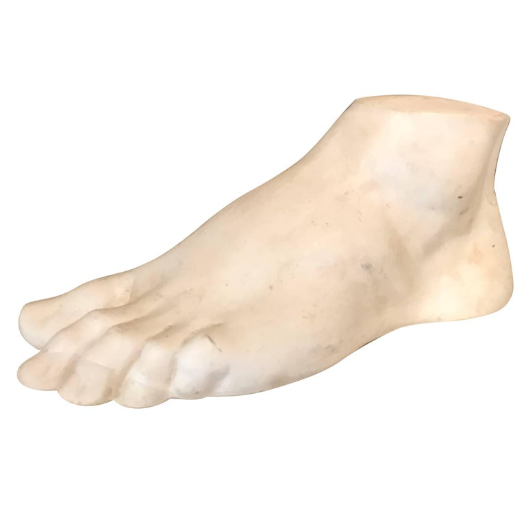 Vintage French Academic Patinated Plaster Foot For Sale