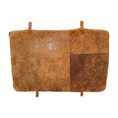 Vintage Patinated Brown Leather Gym Mat, 1950