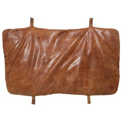 Vintage Patinated Cognac Brown Leather Gym Mat, 1950