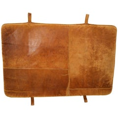 Vintage Patinated Cognac Brown Leather Gym Mat or Bedhead, 1940s