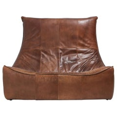 Vintage Patinated Leather Couch 'The Rock' by Gerard Van Den Berg for Montis II
