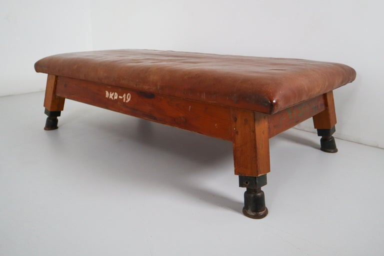 Mid-20th Century Vintage Patinated Leather Gym Bench or Table, circa 1940 For Sale