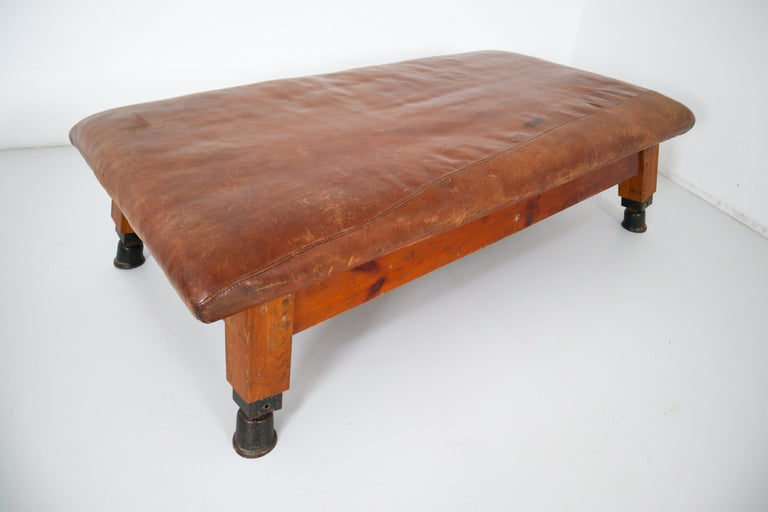 Vintage Patinated Leather Gym Bench or Table, circa 1940 For Sale 1
