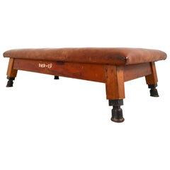 Vintage Patinated Leather Gym Bench or Table, circa 1940