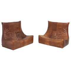 Vintage Patinated Leather Pair of Couches by Gerard Van Den Berg for Montis