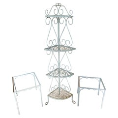 Vintage Patio Plant Stand & Occasional Tables