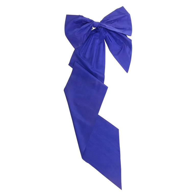 Vintage Patrick Kelly Paris Big Blue Taffeta Bow 1980s For Sale