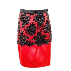 Vintage PATRICK KLLY Red and Black Evening Pencil Skirt Size 42