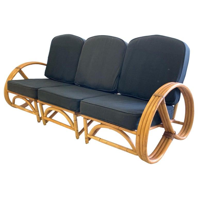 Vintage Paul Frankl Style Rattan Pretzel Sofa For Sale